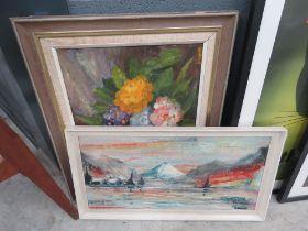 2 oils on board; still life with flowers plus winter landscape
