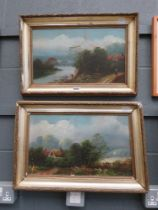 Pair of Victorian oils; country scene with cottages