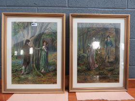 Pair of framed and glazed prints of the courting couple