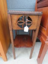 Oak plant stand with second tier