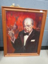 Oil on canvas; study of Churchill signed Homer 86 and an associated preliminary sketch