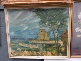 5039 Oil on canvas; castle and seashore