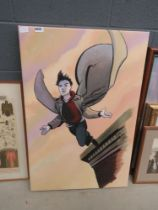 Modern wall hanging super hero with cape