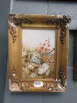 Oil on card; bird nest in foliage