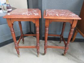 Pair of mahogany and marble Victorian plant stands
