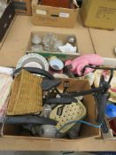 3 boxes containing an ornamental trike, light shades, candlesticks, Sylvac style figure of a