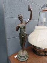 Spelter figure of a lady