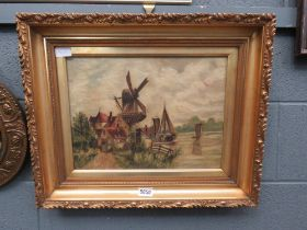 Oil on canvas; windmill and river