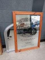 5018 Southern Comfort advertising mirror plus an over mantel in silver painted frame