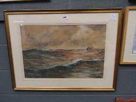 Watercolour; sailing ship at sea