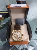 2265 - La Banus perforated dial quartz watch with brown strap