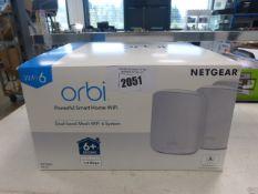 Netgear Orbi Wi-Fi 6 home wi-fi router kit in box