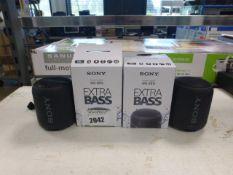 2 Sony SRS-XB12 portable bluetooth mini speakers