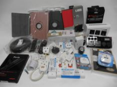 Bag with plugs, extentions, travel/razor adaptors, Toslink 5m & 15m optical cables, Tablet wipes,