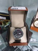 2268 - LA Banus stainless steel bezelled wristwatch with black leather strap and box
