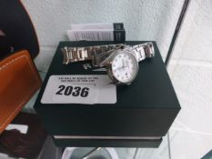 Rotary stainless steel strap ladies wristwatch with box (damaged strap)