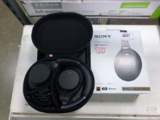 Pair of Sony WH-1000XM3 wireless noise cancelling headphones with box Includes charging and audio