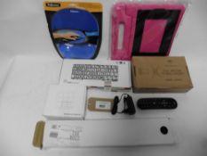 bag with Logic keyboard, Mechanical keyboard, gel mouse pad, gel keyboard wrist rest, TV bracket,
