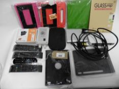 Bag with TV wall mount, Speed Controller unit, Sky hubs, remote controls, Tablet covers and cases