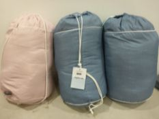 Three coverless night owl duvet, two blue one pink