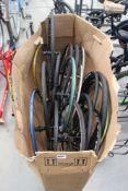 Large box of carbon fibre and aluminium bike wheels
