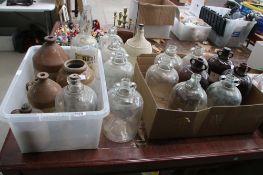 13 demi johns, quantity of stoneware flagons entitled John White of Leighton Buzzard and wicker