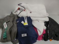 Bag containing assortment of ladies clothing to include Fila hooded top, DKNY sport leggings, Hilary