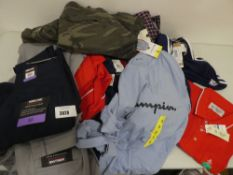 Bag containing selection of men's clothing including Champion t-shirts, Penguin top, Adidas shorts