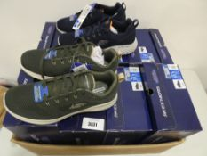 Box containing 8 pairs of Sketchers Air Cooled memory foam trainers in mens sizes primarily UK 8