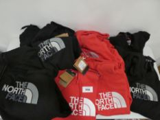 9x The North Face hoodies in red & black, all tagged, various sizes