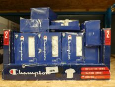 Box of Champion cotton t-shirts, mostly in white