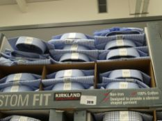 Box of Kirkland shirts, white with blue check, various sizes