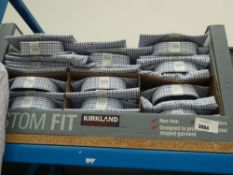 Approx. 35 Kirkland shirts in white with blue and grey checks, various sizes