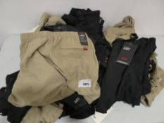 Bag containing a selection of Levi's climber shorts in khaki and black, various sizes, all tagged