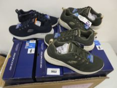 Box containing 8 pairs of Sketchers Air Cooled memory foam trainers in navy and green, mainly size