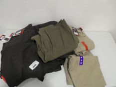 Bag containing Gerry venture shorts in slate, canvas and dark green, various sizes
