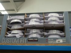 Box of approx 35 Kirkland shirts in box, various sizes, white with various colour checks, red, blue,