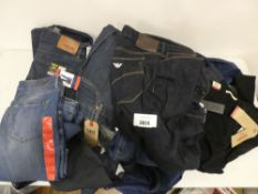 Selection of jeans, Levi's, Emporio Armani, Urban Star, Bandelino, etc various sizes, all tagged
