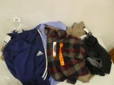 Bag of mixed men's clothing including Adidas trousers, Undre Armour shorts, Weatherproof tops, shirt