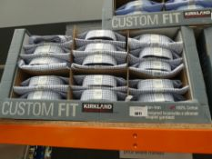 Box of approx 35 Kirkland shirts, white with blue and black check, various sizes