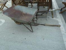 Galvanised vintage wheelbarrow