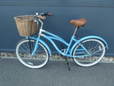 Blue snob ladies cycle with front basket