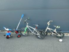 Silver small child's cycle, beige Commando small child's cycle and 3-wheeled trike