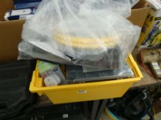 Box containing washers, switches, wire brushes, etc