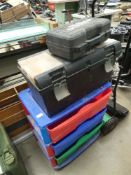 3 assorted empty toolboxes