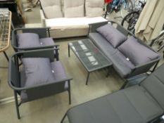 4118 4-piece garden set comprising 2-seater sofa, 2 chairs and glass top coffee table