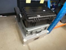 Stack of empty toolboxes
