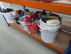 Large underbay of tilers accessories to inc. floats, trowels, sponges, scrapers, buckets, etc