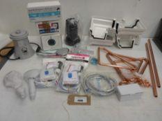 Pool filter pump, submersible pump, shower head, hose, trap, Sure Stop sets, copper pipe, gutter