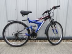 Magna mountain bike in blue and black full suspension